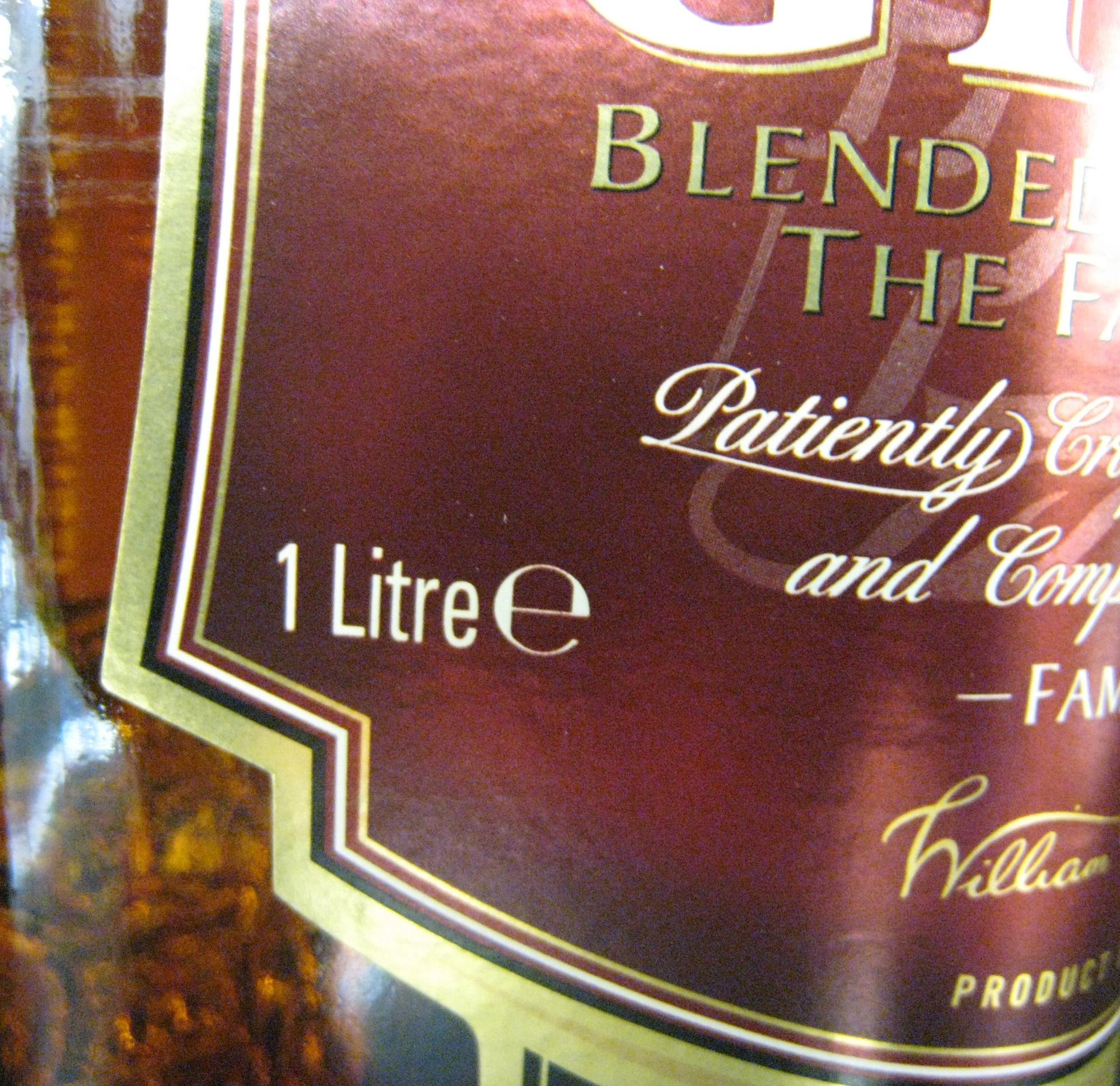 Whisky Ecosse blended sans âge 100 cl Grant's - Ingrediënten