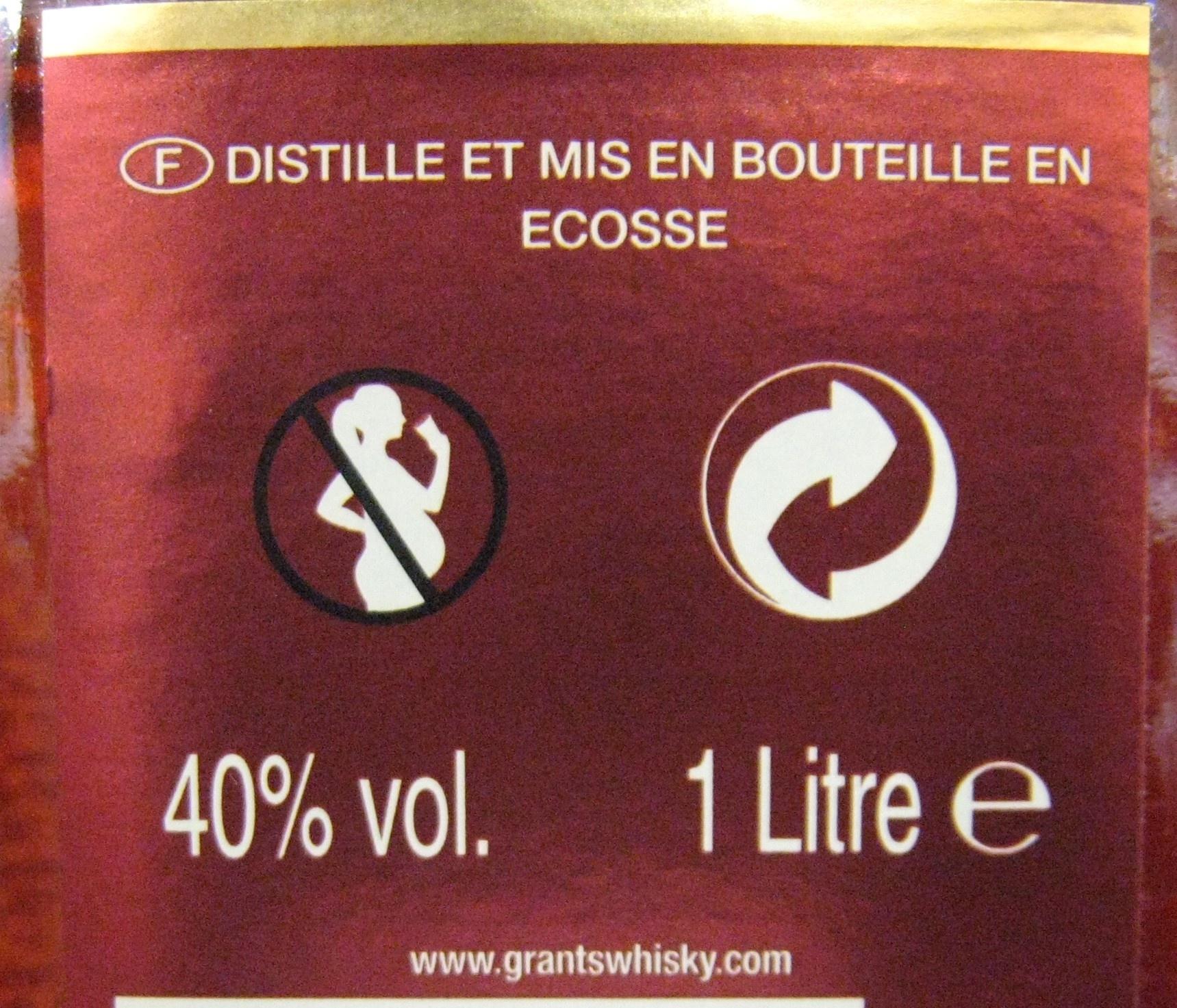 Whisky Ecosse blended sans âge 100 cl Grant's - Voedingswaarden