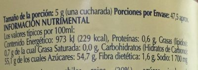 SALSA AGRIDULCE - Nutrition facts