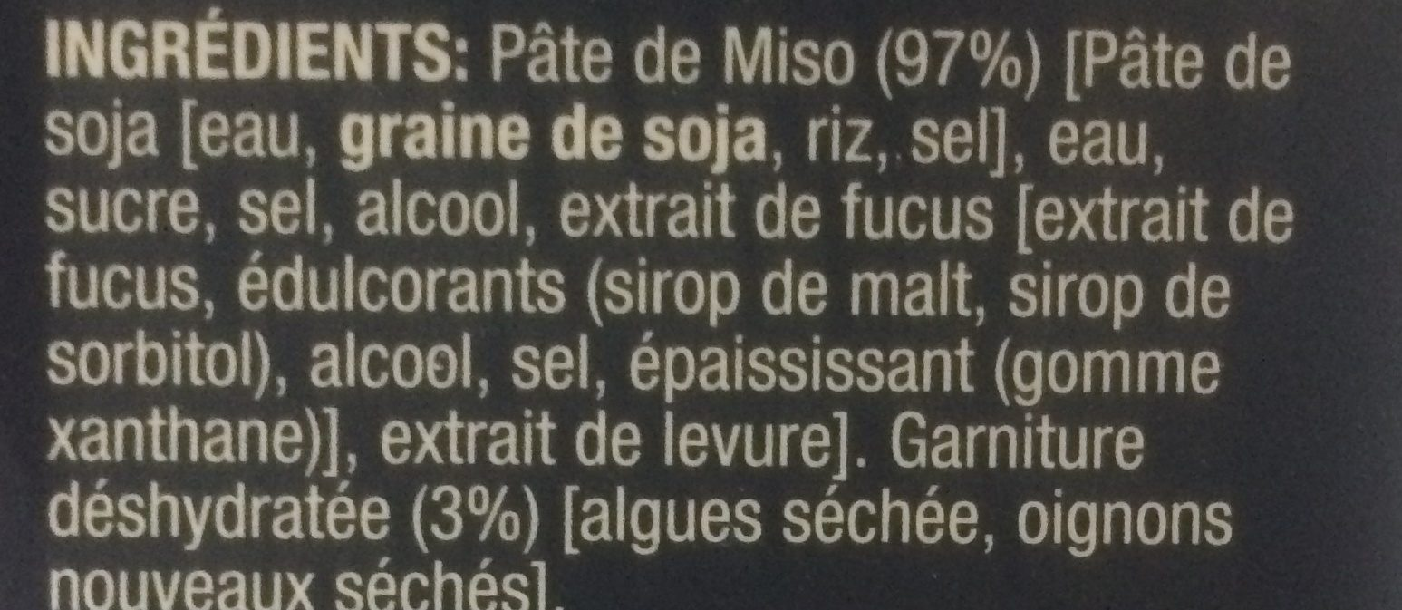 Sopa miso instantánea - Ingrediënten - fr