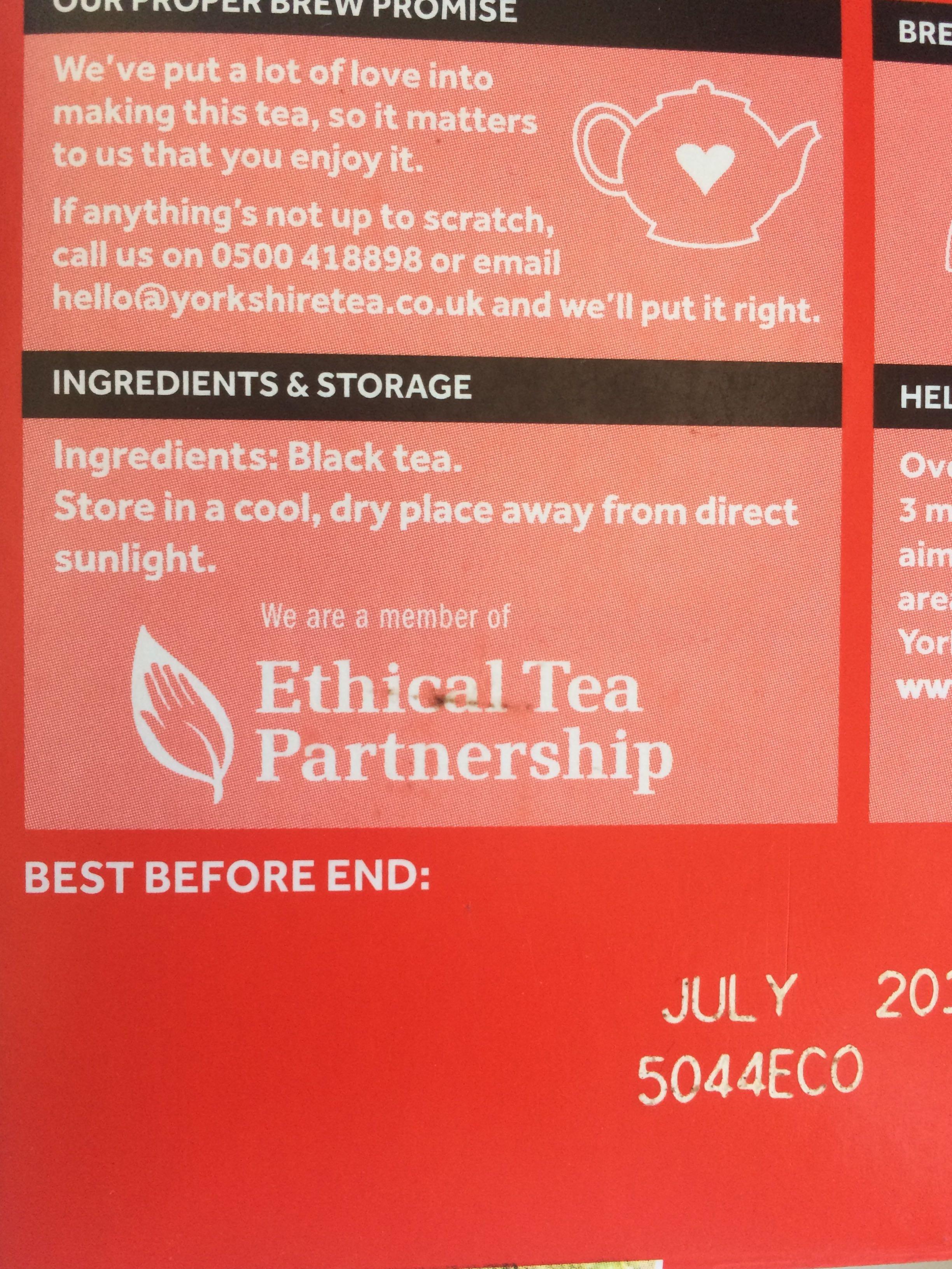 Yorkshire Tea - Ingredients - en