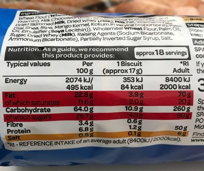 Milk chocolate digestives - Voedingswaarden - en