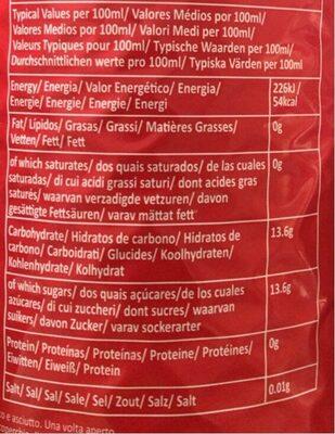 Vimto - Informazioni nutrizionali - fr