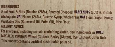 Frusli Raisins & Hazelnuts Chewy Cereal Bars 6 x (180g) - Ingrédients - en