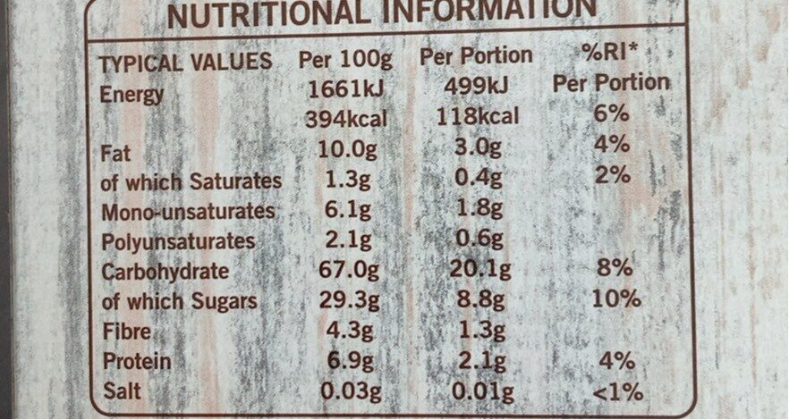Frusli Raisins & Hazelnuts Chewy Cereal Bars 6 x (180g) - Informations nutritionnelles - en