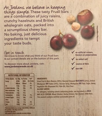 Jordans Frusli Juicy Raisin & Hazelnut Cereal Bar - Nutrition facts