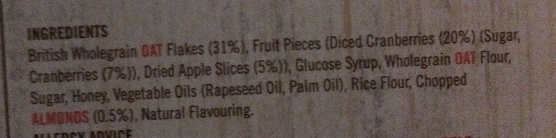 Frusli Tasty Cranberries & Apple Slices - Ingredients