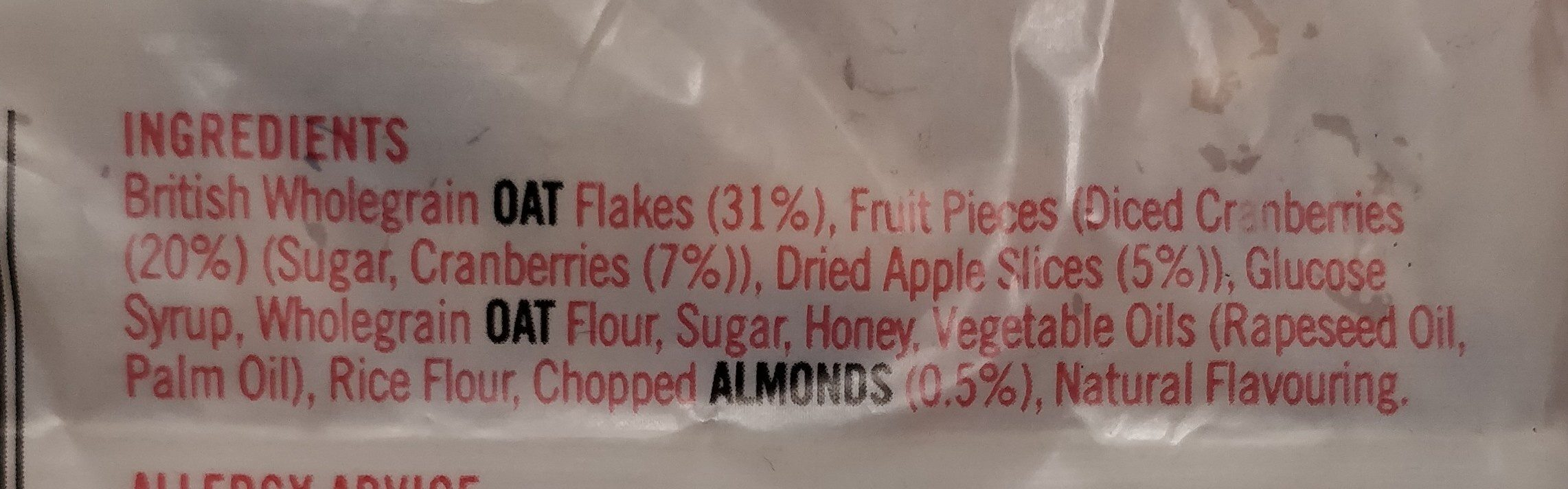 Frusli Cereal Bars - Ingredients - fr
