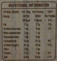 Frusli Cereal Bars - Nutrition facts