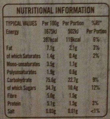 Frusli Cereal Bars - Informations nutritionnelles - fr
