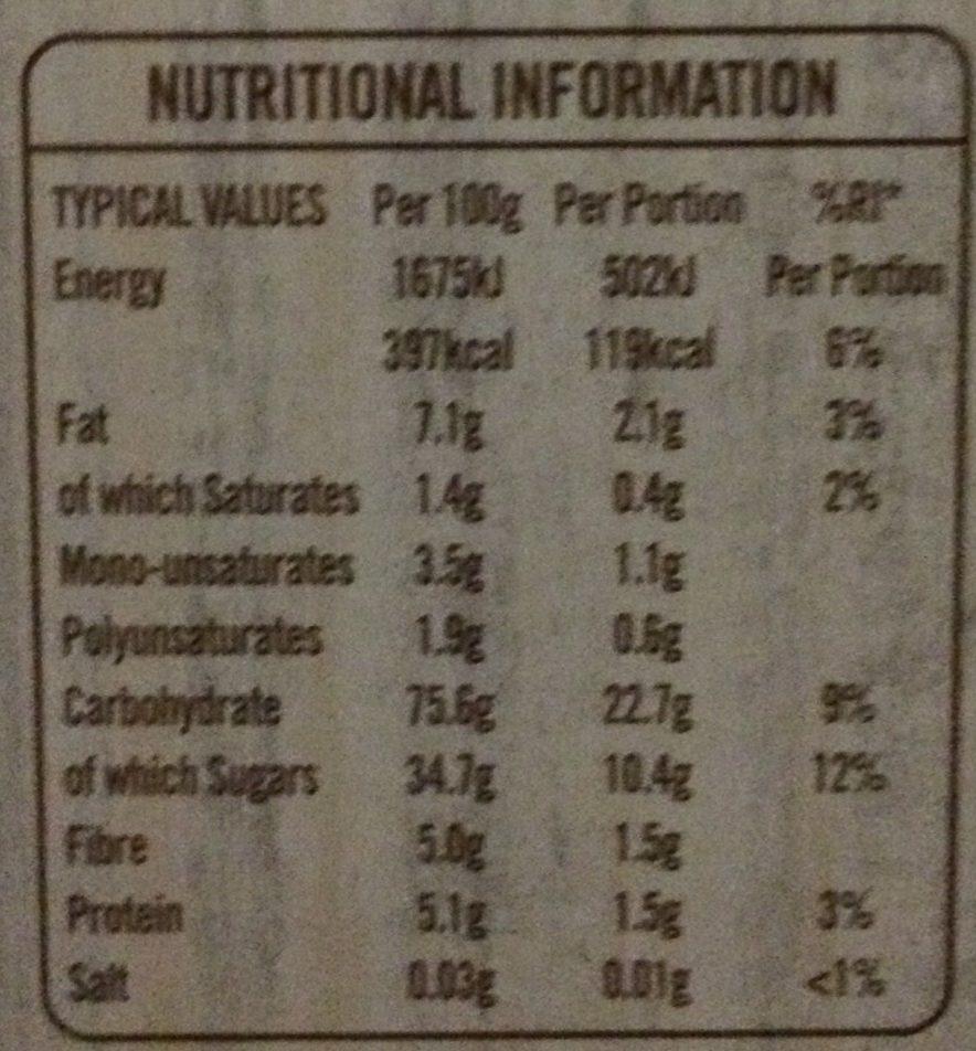 Frusli Tasty Cranberries & Apple Slices - Nutrition facts