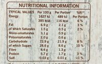 Frusli Juicy Blueberries Chewy Cereal Bars 6 x (180g) - Informations nutritionnelles - en