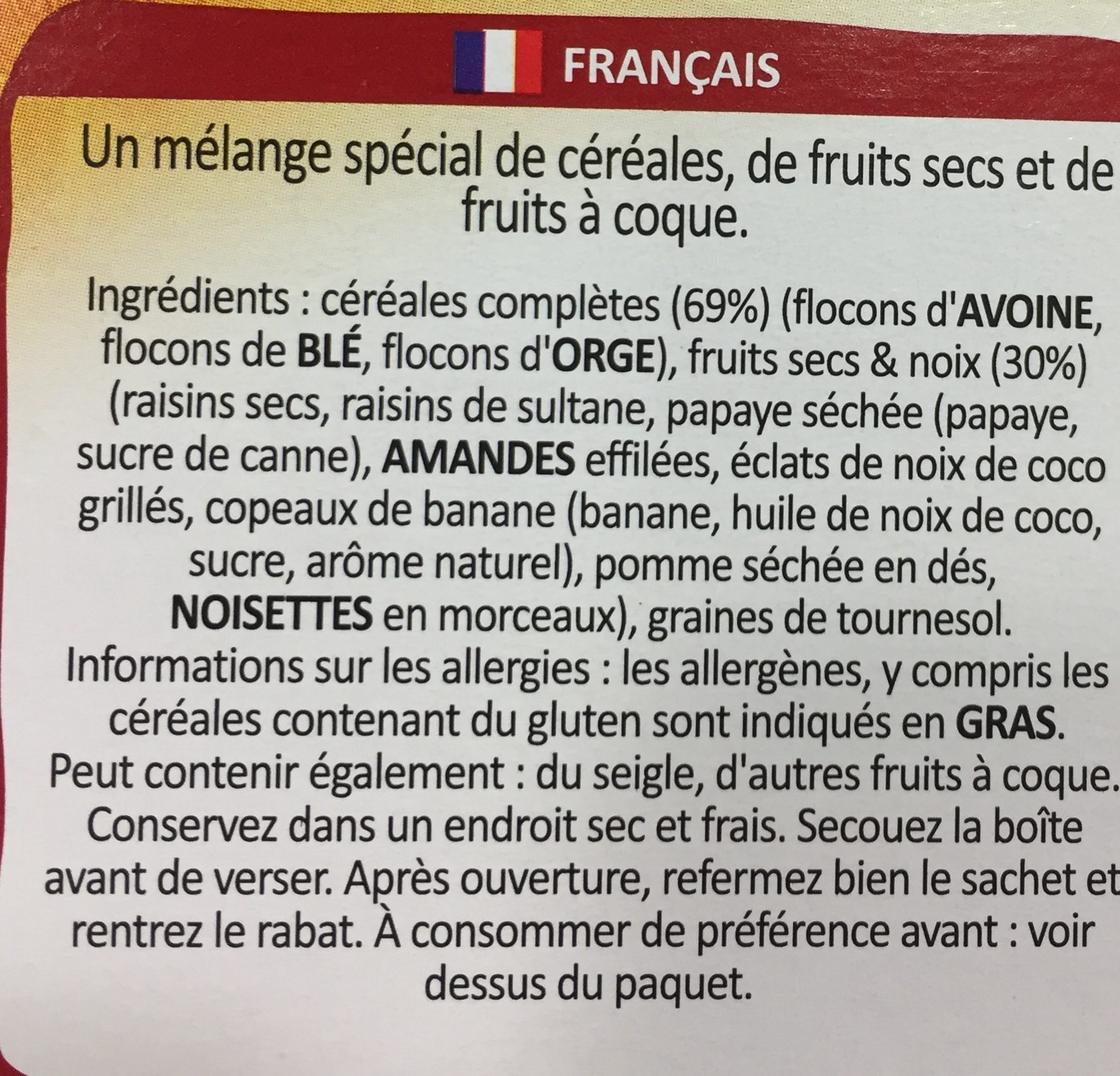 Muesli special cereales de desayuno con de frutas - Ingrédients - fr