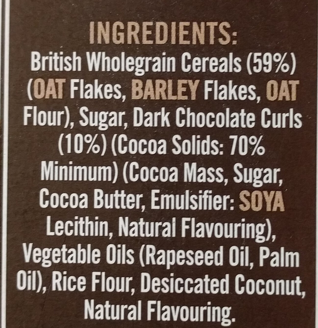 Country crisp with 70% Chocolate - Ingredients
