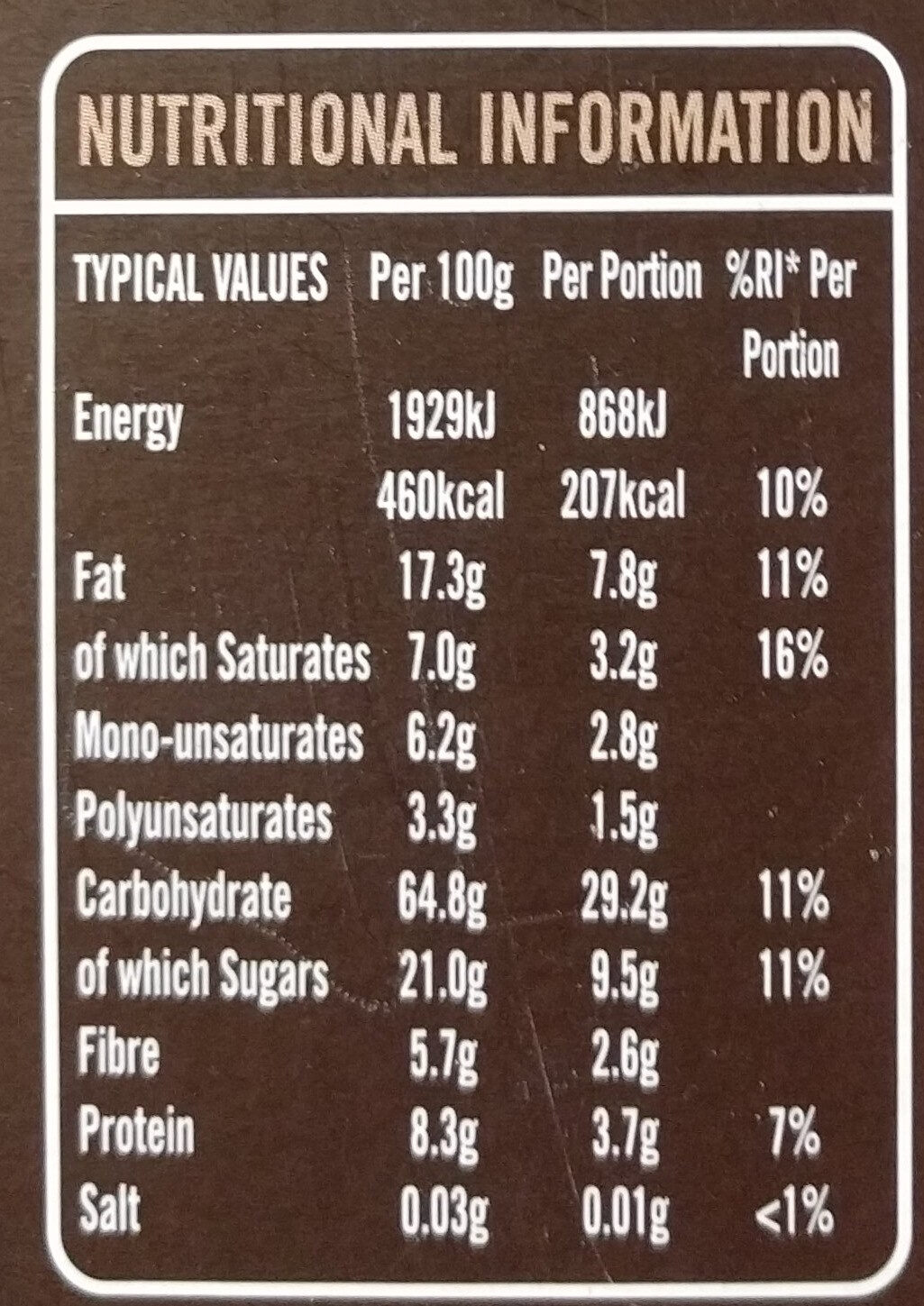 Country crisp with 70% Chocolate - Nutrition facts
