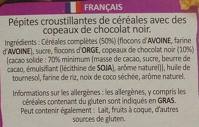 Country crisp Crunchy muesli Dark chocolate - Ingrédients - fr