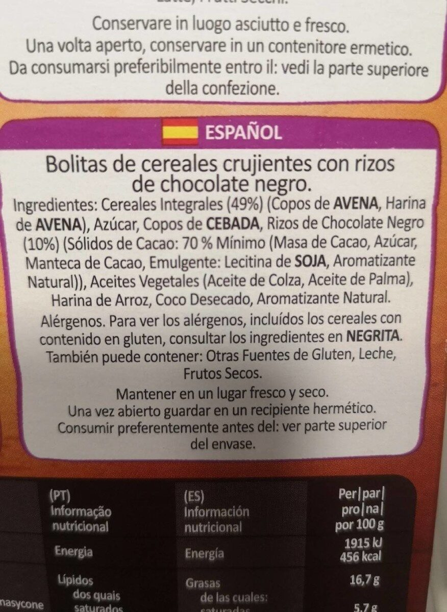 Country crisp Crunchy muesli Dark chocolate - Informations nutritionnelles - en