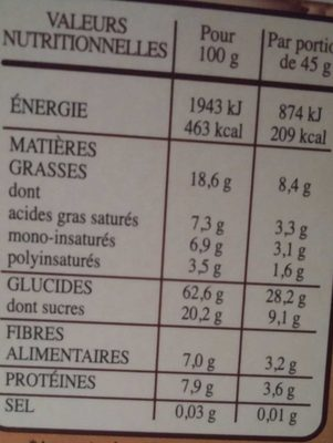 Céréales Country Crisp Chocolat Noir - Voedingswaarden - fr