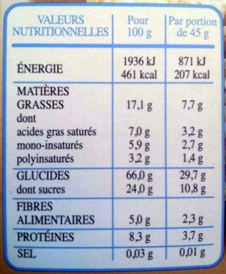 Country Crisp - Céréales complètes & chocolat au lait extra fin - Informations nutritionnelles - fr
