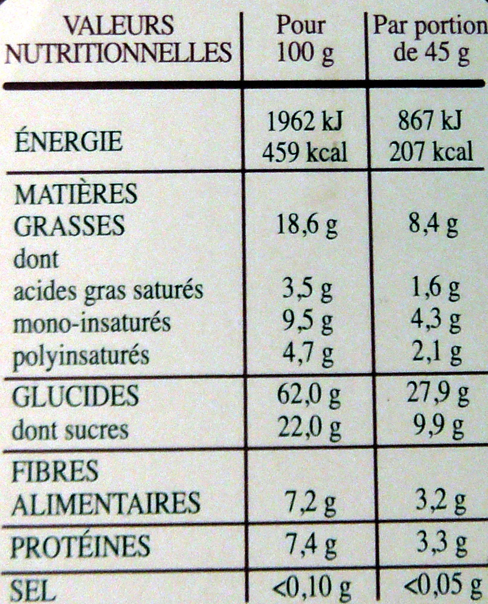 Country Crisp Sirop d'Erable & Noix de Pécan - Nutrition facts