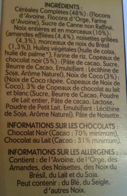 Country crisp délice - Pépites croustillantes - 3 chocolats & noix grillées - Ingrédients - fr