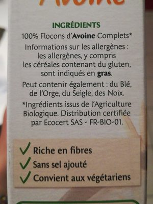 Flocon d'avoine - Ingredients