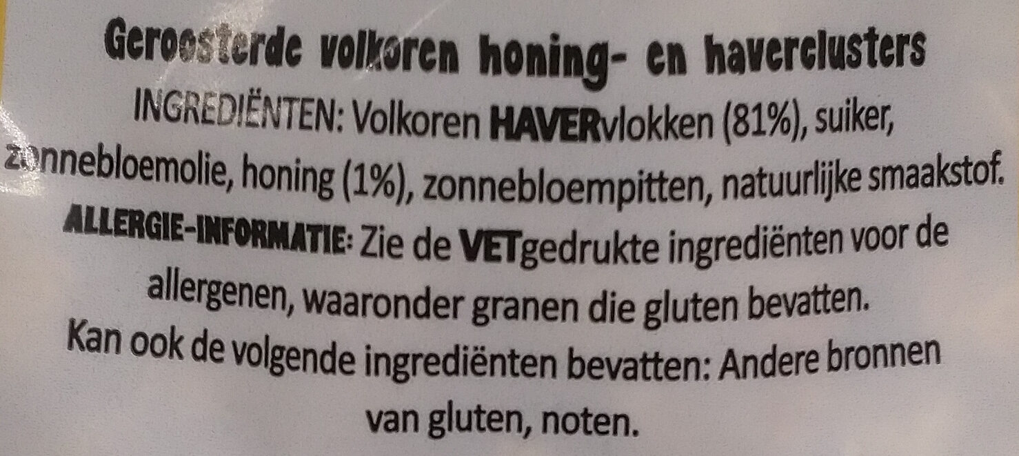 Simple Crunchy honey baked granola - Ingrediënten - nl