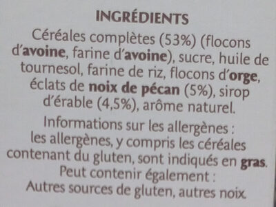 Country Crisp Sirop d'érable & Noix de Pécan - Ingredienti - fr