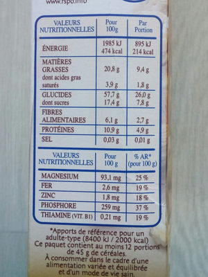 Country Crisp 4 Noix - Nutrition facts
