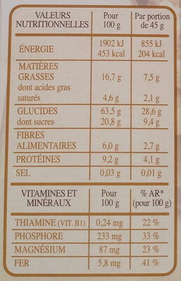 Country Crisp - Chocolat noir 70% cacao - Informations nutritionnelles - fr