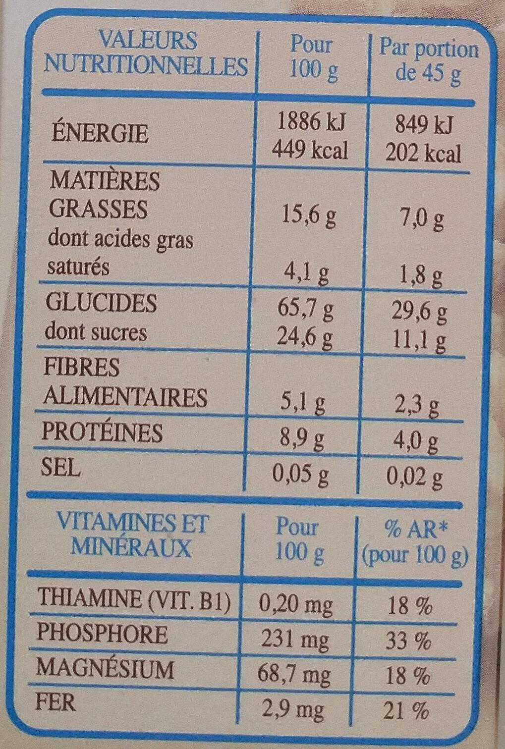 Country Crisp chocolat au lait - Valori nutrizionali - fr