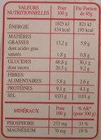 Country Crisp Fraises - Informations nutritionnelles - fr