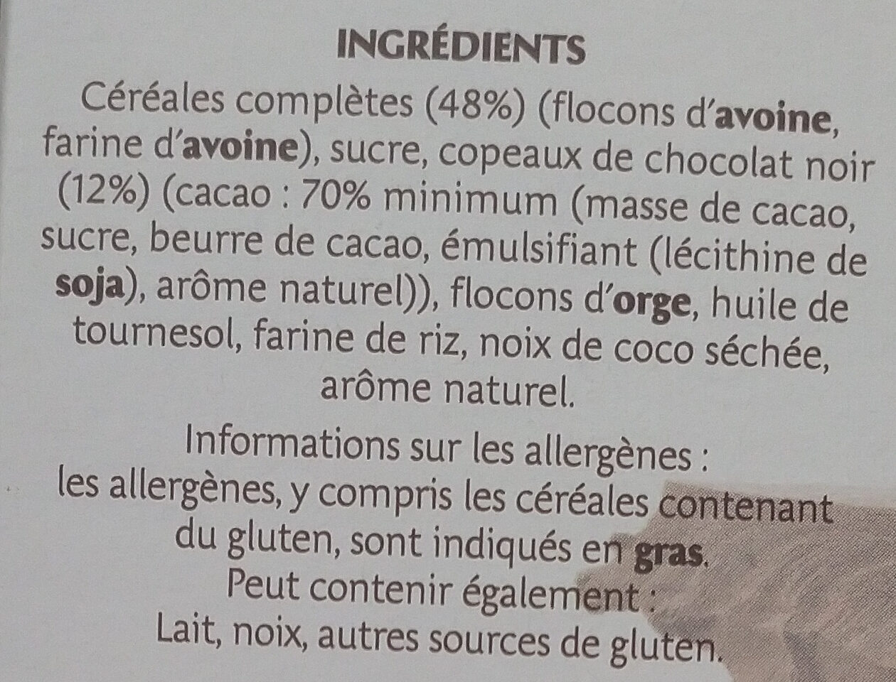 Country Crisp Chocolat Noir - Ingrédients - fr