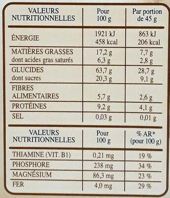 Country Crisp pépites croustillantes & chocolat Noir - Informations nutritionnelles - fr