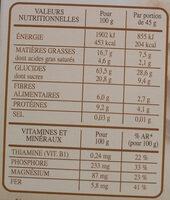 Country Crisp Chocolat Noir - Informations nutritionnelles - fr
