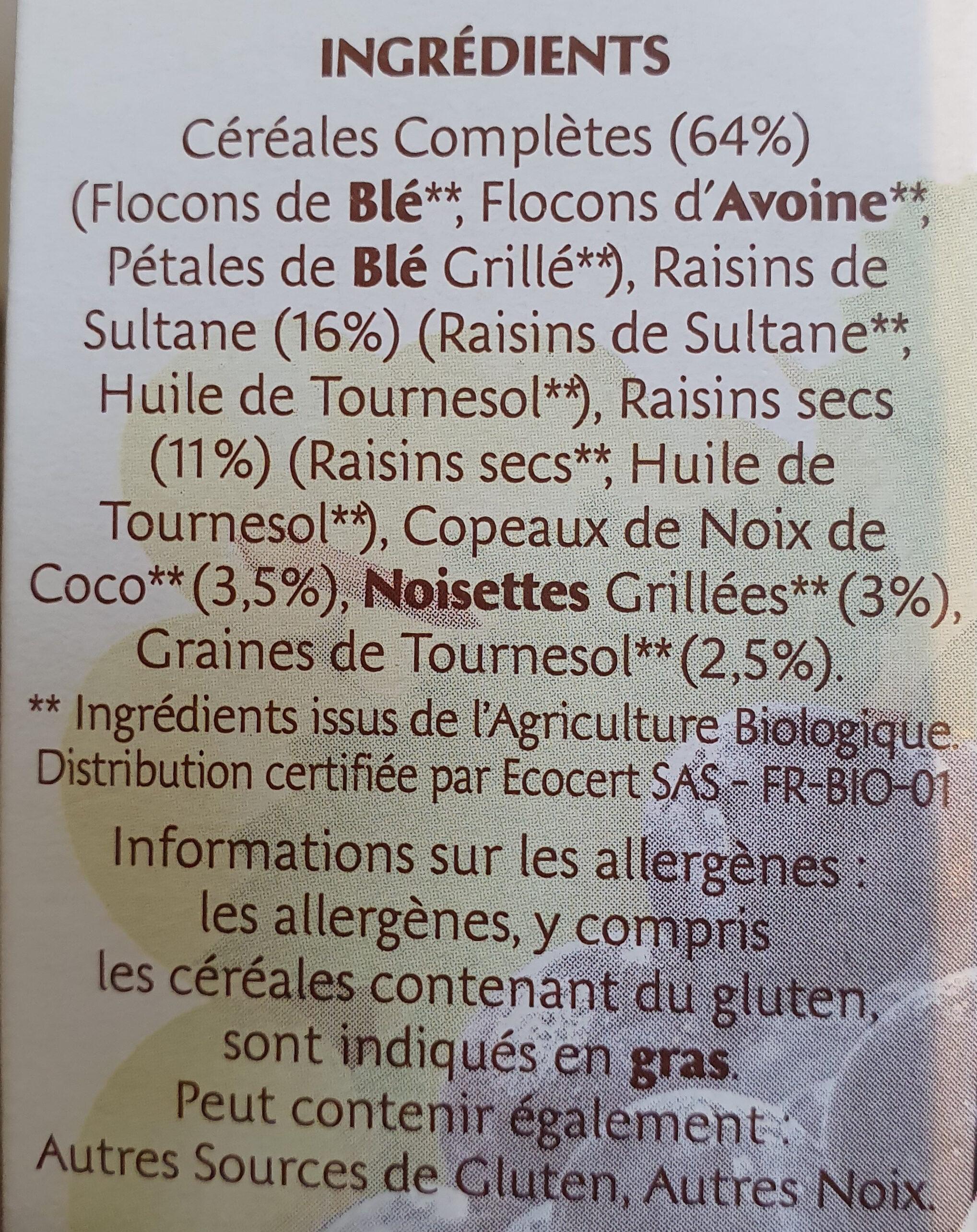 MUESLI BIO - Ingredients - fr