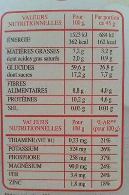 Muesli 30% fruits & noix céréales complètes - Nutrition facts
