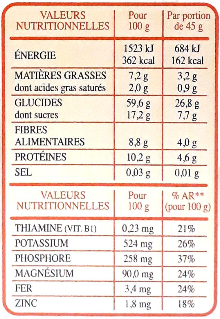 Special Muesli 30% fruits & noix céréales complètes - Informazioni nutrizionali - fr