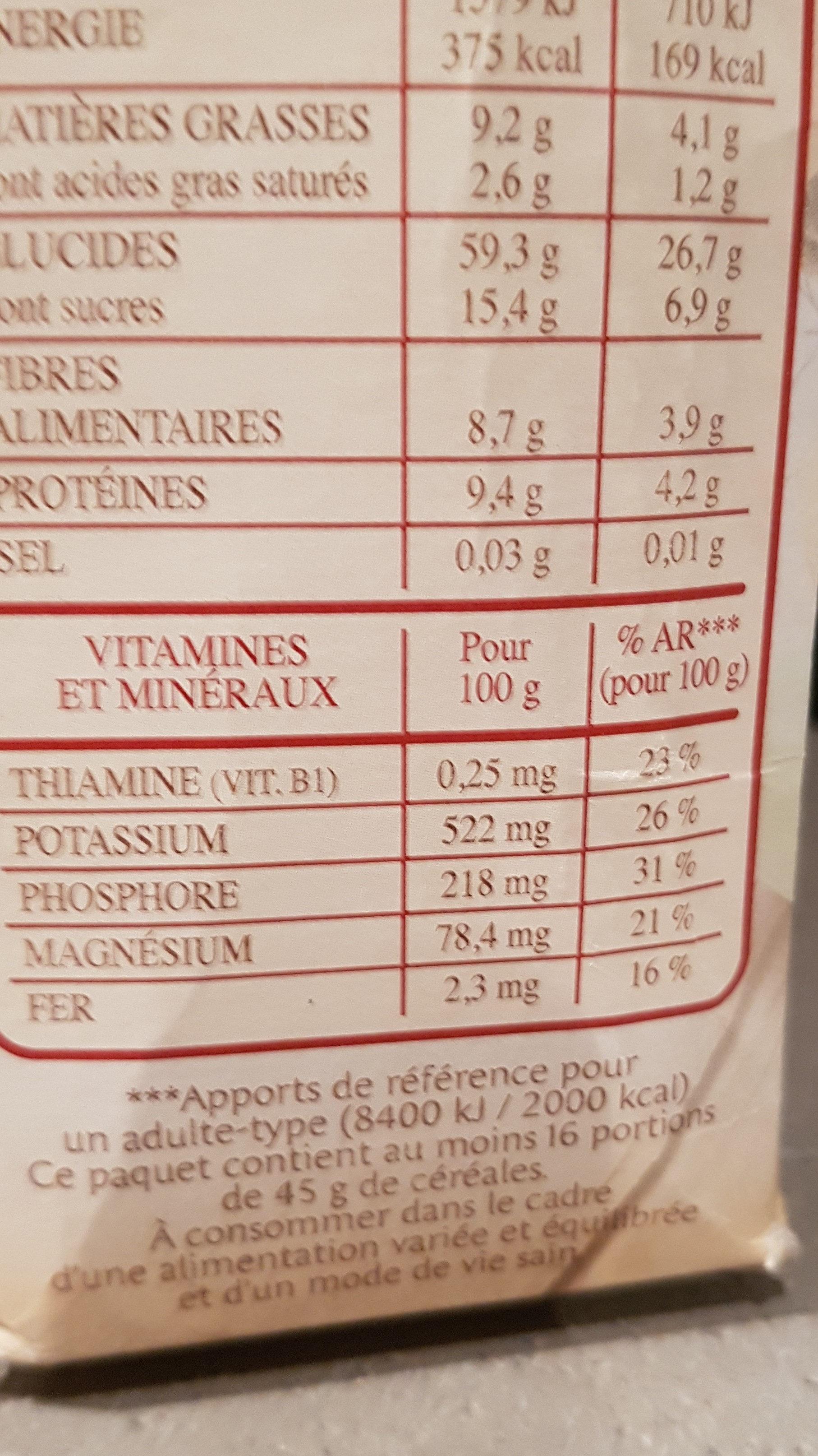 Spécial muesli - Informations nutritionnelles