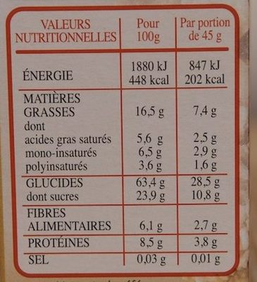 Country Crisp Fruits & Noix - Nutrition facts - fr