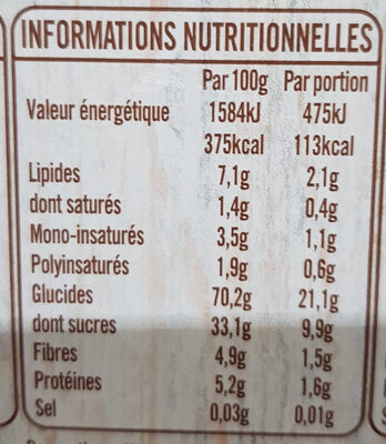 frusli - Voedingswaarden - fr