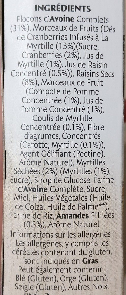 Frusli Myrtilles - Avoines complète - Source de fibres 6 barres généreuses - Ingrédients - fr