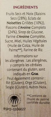 Frusli Raisins & Noisettes - Ingredients