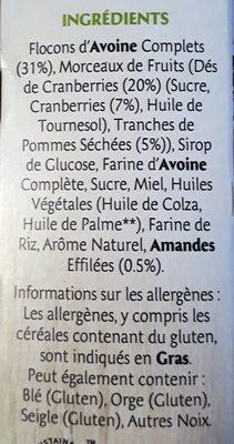 Frusli Pommes & Cranberries - Ingredients - fr