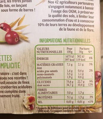 Frusli Pommes & Cranberries - Nutrition facts