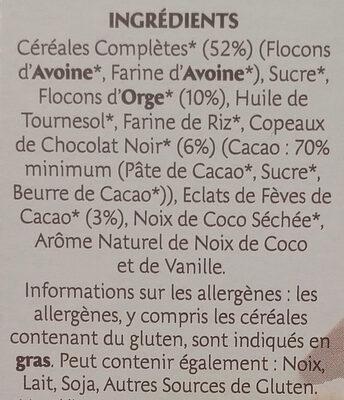 Country crisp bio Chocolat Noir - Ingrediënten - fr