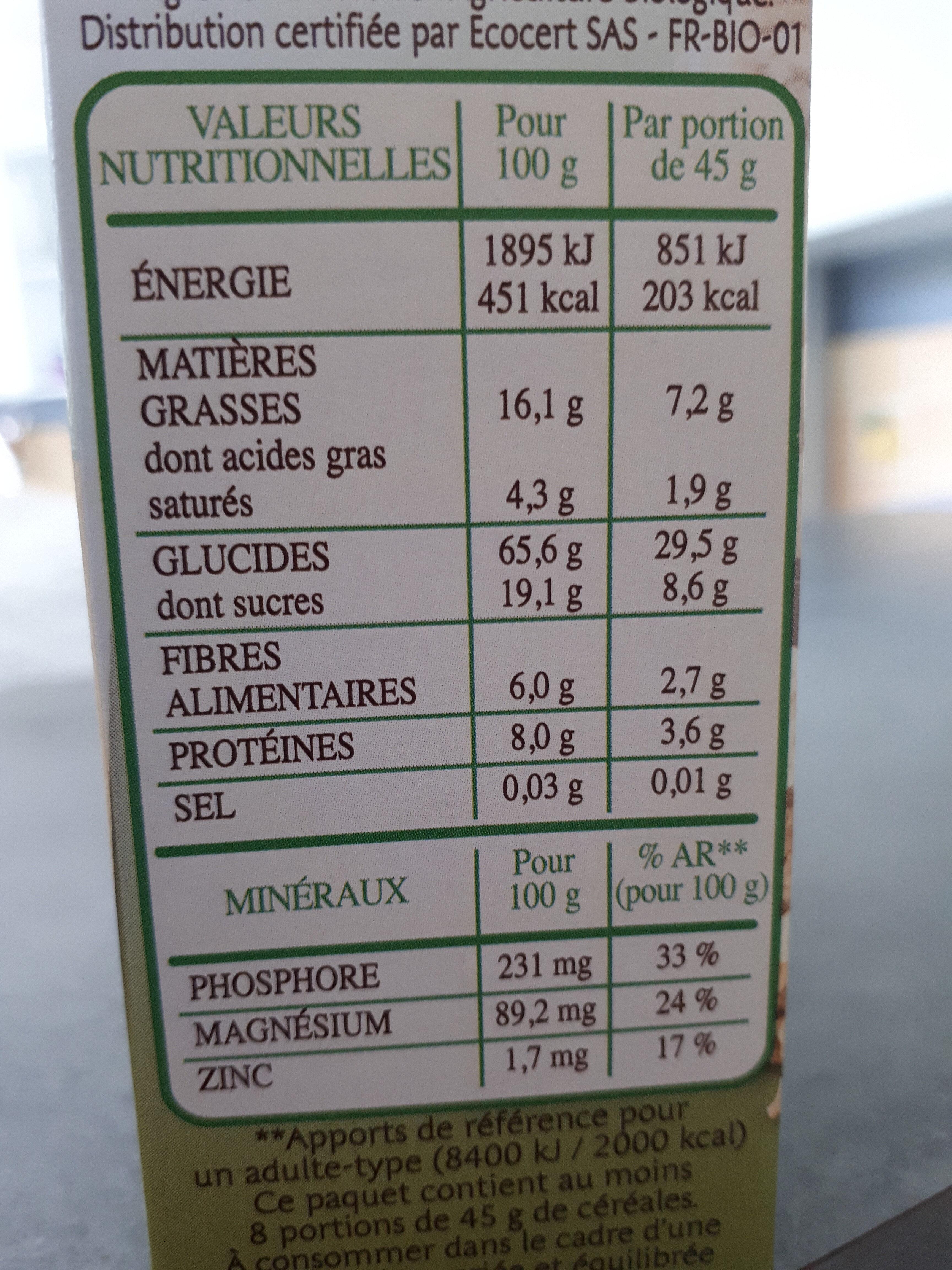 Country crisp bio Chocolat Noir - Nutrition facts - fr