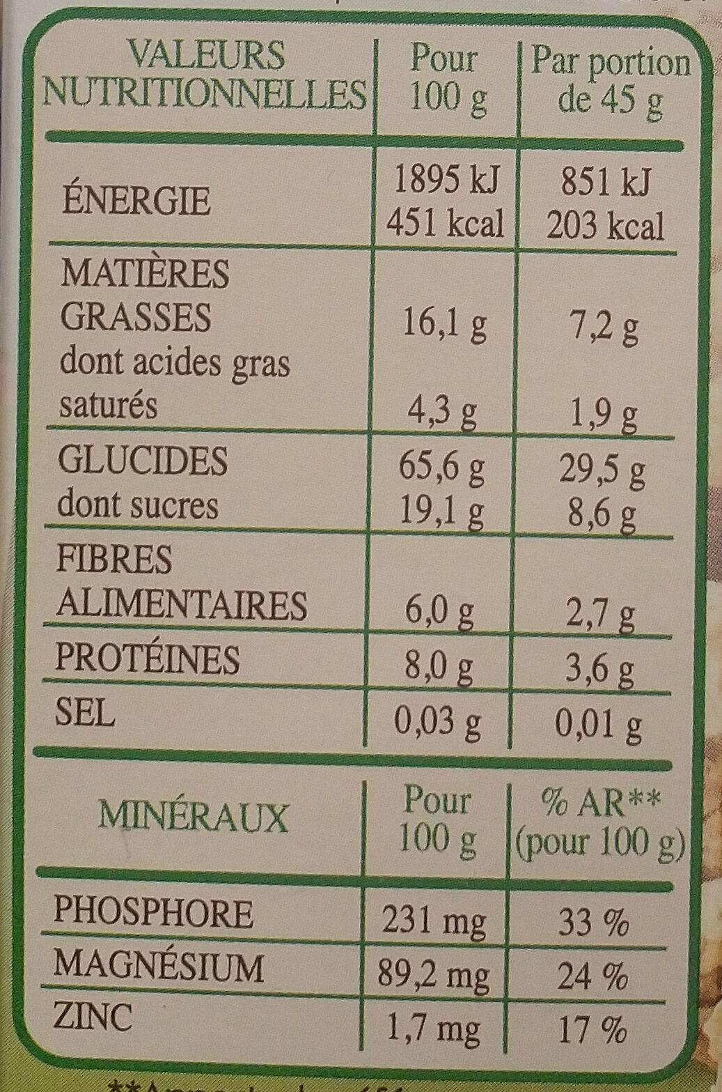 Country crisp bio Chocolat Noir - Voedingswaarden - fr
