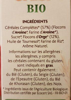 Country Crisp Bio -  Avoine & orge dorée - Ingrédients - fr