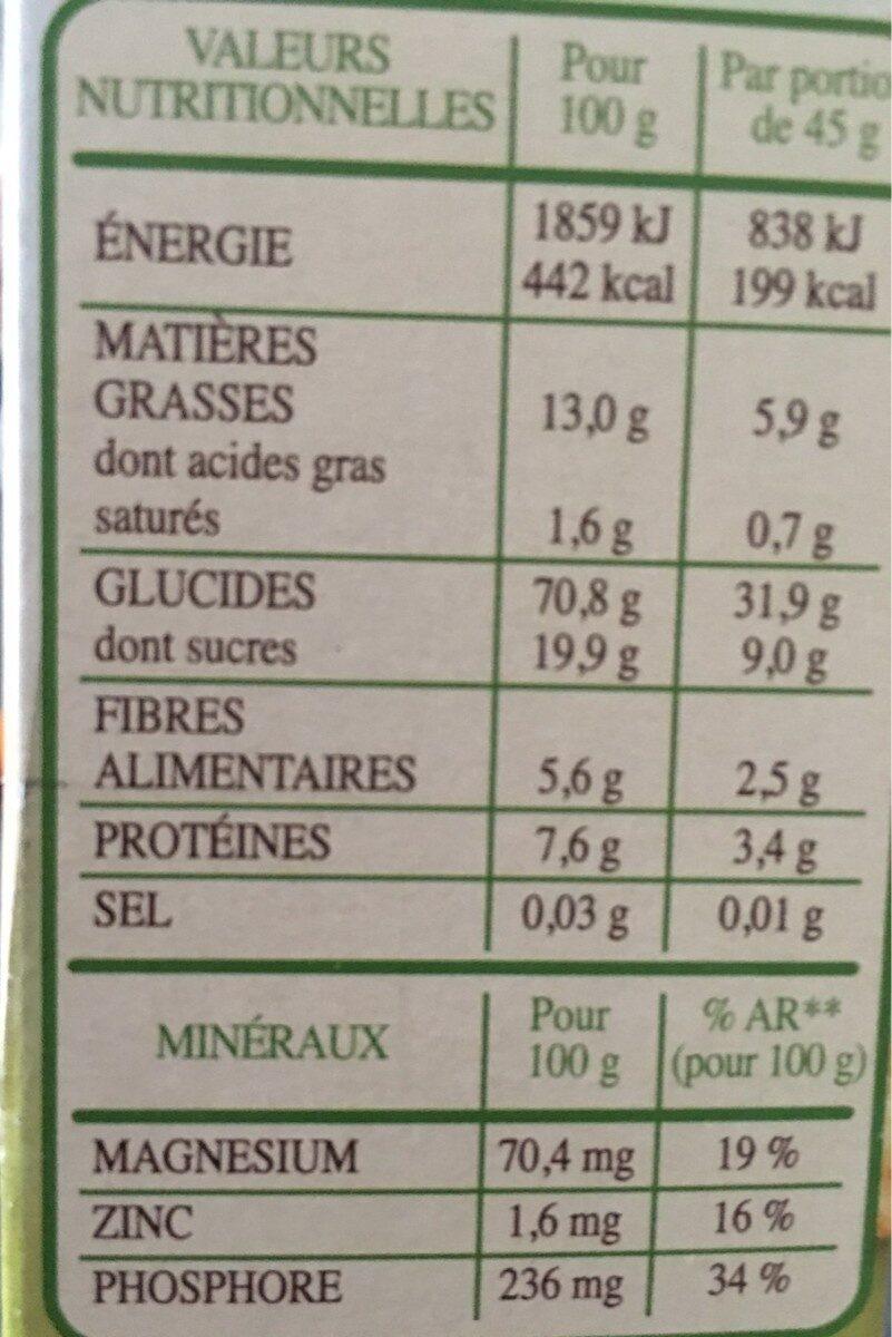 Country Crisp Bio -  Avoine & orge dorée - Informations nutritionnelles - fr